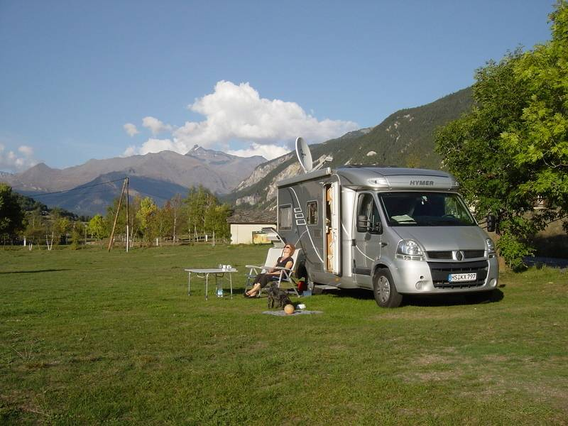 Silver Hymer Motorhome on a camping ground