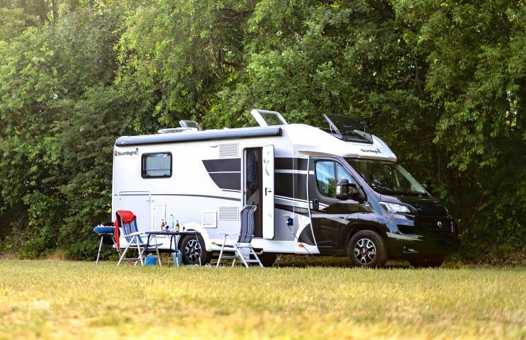 Semi-integral motorhome on a camping ground