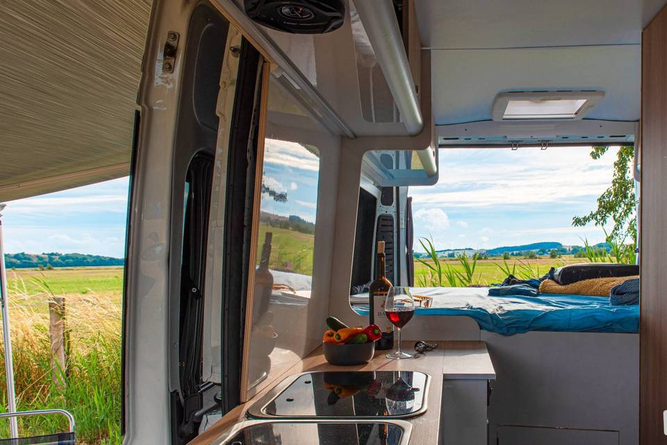 Interior and kitchen of a Fiat campervan
