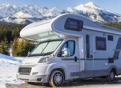 Campervan with mountain view
